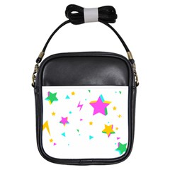Star Triangle Space Rainbow Girls Sling Bags by Alisyart