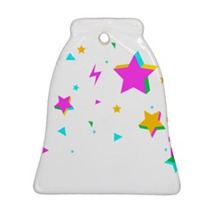 Star Triangle Space Rainbow Bell Ornament (two Sides)