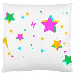 Star Triangle Space Rainbow Large Cushion Case (one Side)