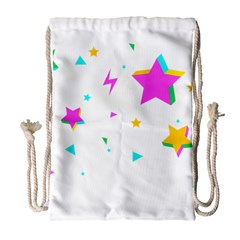 Star Triangle Space Rainbow Drawstring Bag (large)