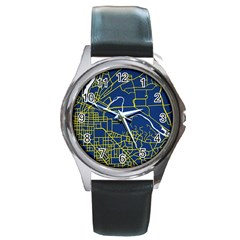 Map Art City Linbe Yellow Blue Round Metal Watch by Alisyart