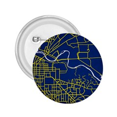 Map Art City Linbe Yellow Blue 2 25  Buttons by Alisyart