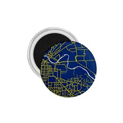 Map Art City Linbe Yellow Blue 1 75  Magnets