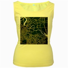 Map Art City Linbe Yellow Blue Women s Yellow Tank Top