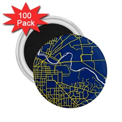 Map Art City Linbe Yellow Blue 2 25  Magnets (100 Pack)