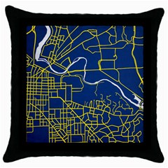 Map Art City Linbe Yellow Blue Throw Pillow Case (black) by Alisyart