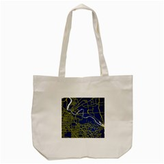 Map Art City Linbe Yellow Blue Tote Bag (cream)
