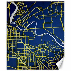 Map Art City Linbe Yellow Blue Canvas 8  X 10