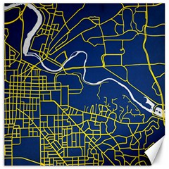 Map Art City Linbe Yellow Blue Canvas 12  X 12   by Alisyart
