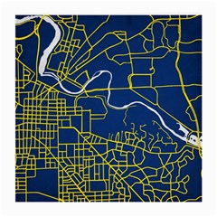 Map Art City Linbe Yellow Blue Medium Glasses Cloth by Alisyart