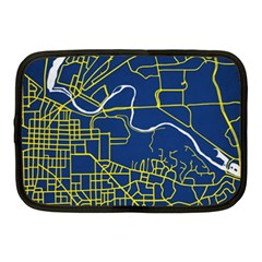 Map Art City Linbe Yellow Blue Netbook Case (medium)