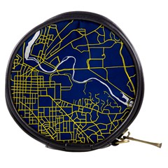 Map Art City Linbe Yellow Blue Mini Makeup Bags