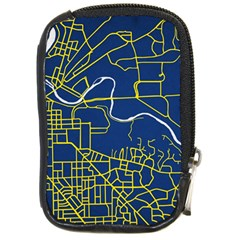 Map Art City Linbe Yellow Blue Compact Camera Cases