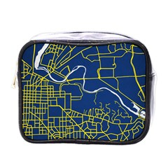 Map Art City Linbe Yellow Blue Mini Toiletries Bags
