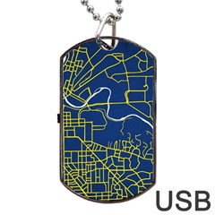 Map Art City Linbe Yellow Blue Dog Tag Usb Flash (two Sides) by Alisyart