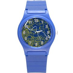 Map Art City Linbe Yellow Blue Round Plastic Sport Watch (s)