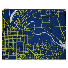 Map Art City Linbe Yellow Blue Cosmetic Bag (xxxl)