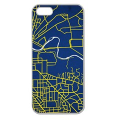 Map Art City Linbe Yellow Blue Apple Seamless Iphone 5 Case (clear) by Alisyart