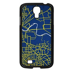Map Art City Linbe Yellow Blue Samsung Galaxy S4 I9500/ I9505 Case (black)