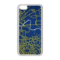 Map Art City Linbe Yellow Blue Apple Iphone 5c Seamless Case (white)