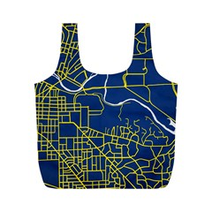 Map Art City Linbe Yellow Blue Full Print Recycle Bags (m)