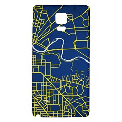 Map Art City Linbe Yellow Blue Galaxy Note 4 Back Case