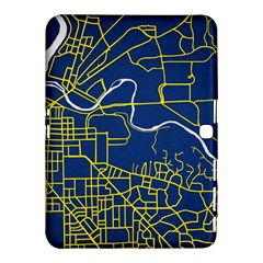 Map Art City Linbe Yellow Blue Samsung Galaxy Tab 4 (10 1 ) Hardshell Case