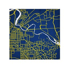 Map Art City Linbe Yellow Blue Small Satin Scarf (square) by Alisyart