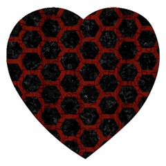 Hexagon2 Black Marble & Red Wood (r) Jigsaw Puzzle (heart) by trendistuff