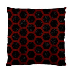 Hexagon2 Black Marble & Red Wood (r) Standard Cushion Case (two Sides) by trendistuff
