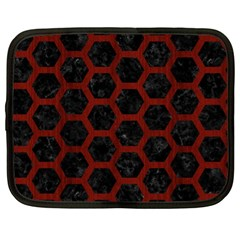 Hexagon2 Black Marble & Red Wood (r) Netbook Case (xl)
