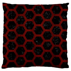Hexagon2 Black Marble & Red Wood (r) Large Cushion Case (two Sides) by trendistuff