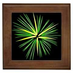 Fireworks Green Happy New Year Yellow Black Sky Framed Tiles by Alisyart