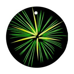 Fireworks Green Happy New Year Yellow Black Sky Round Ornament (two Sides)