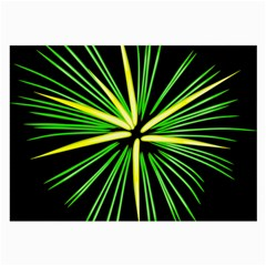 Fireworks Green Happy New Year Yellow Black Sky Large Glasses Cloth by Alisyart