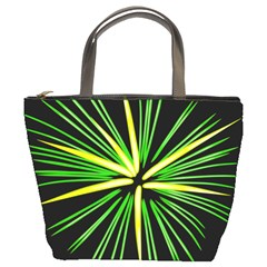 Fireworks Green Happy New Year Yellow Black Sky Bucket Bags