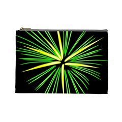 Fireworks Green Happy New Year Yellow Black Sky Cosmetic Bag (large)