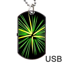 Fireworks Green Happy New Year Yellow Black Sky Dog Tag Usb Flash (two Sides) by Alisyart