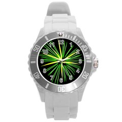 Fireworks Green Happy New Year Yellow Black Sky Round Plastic Sport Watch (l)