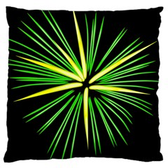 Fireworks Green Happy New Year Yellow Black Sky Large Cushion Case (one Side) by Alisyart
