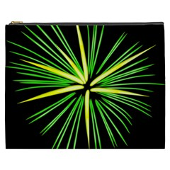 Fireworks Green Happy New Year Yellow Black Sky Cosmetic Bag (xxxl)