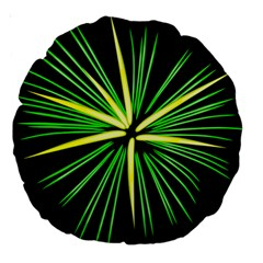 Fireworks Green Happy New Year Yellow Black Sky Large 18  Premium Round Cushions