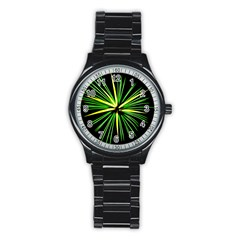Fireworks Green Happy New Year Yellow Black Sky Stainless Steel Round Watch by Alisyart