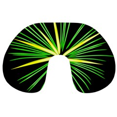 Fireworks Green Happy New Year Yellow Black Sky Travel Neck Pillows