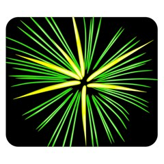 Fireworks Green Happy New Year Yellow Black Sky Double Sided Flano Blanket (small)  by Alisyart