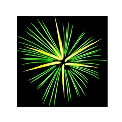 Fireworks Green Happy New Year Yellow Black Sky Small Satin Scarf (square)