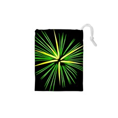 Fireworks Green Happy New Year Yellow Black Sky Drawstring Pouches (xs)