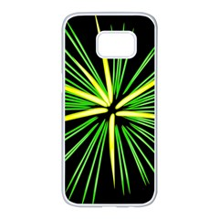 Fireworks Green Happy New Year Yellow Black Sky Samsung Galaxy S7 Edge White Seamless Case by Alisyart