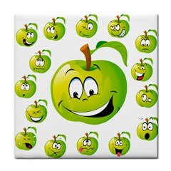 Apple Green Fruit Emoji Face Smile Fres Red Cute Tile Coasters by Alisyart