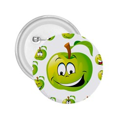 Apple Green Fruit Emoji Face Smile Fres Red Cute 2 25  Buttons